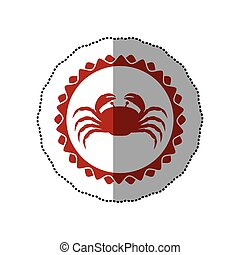 sticker red stamp border with silhouette of crab