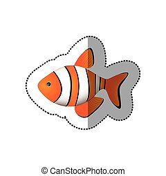 sticker colorful picture clownfish acuatic animal vector...