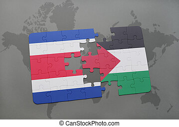 puzzle with the national flag of costa rica and palestine on...