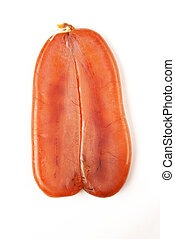 Mullet roe - Dried mullet roe on white background