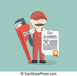 fat plumber holding certificate and giant pipe wrench