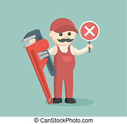 fat plumber holding false sign and giant pipe wrench