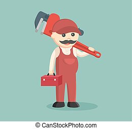 fat plumber holding tool box and giant pipe wrench