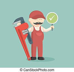 fat plumber holding true sign and giant pipe wrench