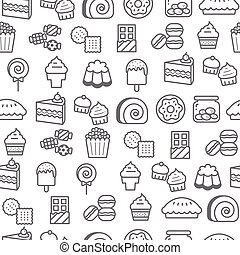 Different line style icons seamless pattern, Dessert -...