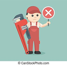 plumber holding false sign and giant pipe wrench