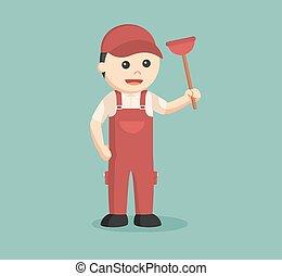 plumber holding toilet plunger