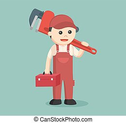 plumber holding tool box and giant pipe wrench