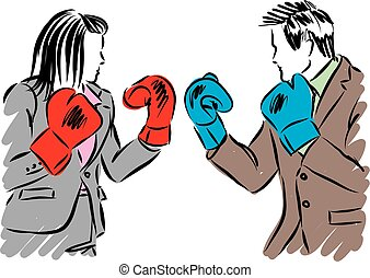 business people man and woman kick boxing illustration.eps -...