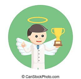 businessman angel holding trophy in circle background