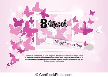 8 March International Women Day Greeting Card Flat Vector...