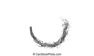 ring of juice grey color flowing and rotating. Isolated on white background, alpha channel included like alpha matte FULL HD Element of Motion graphics 1.