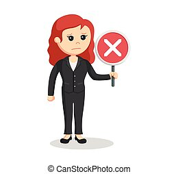 female lawyer with crosswise sign