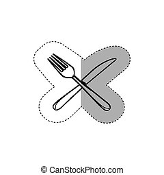 sticker figure knife and fork icon