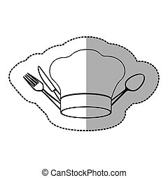 figure hat with cutlery icon, vector illustraction design...