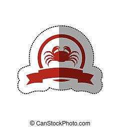 sticker red circular border with crab and label