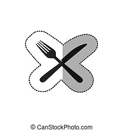sticker silhouette knife and fork icon