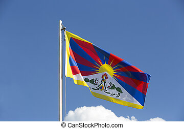 National flag of Tibet on a flagpole
