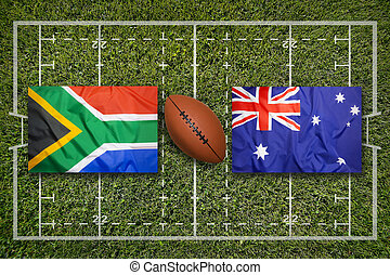 South Africa vs. Australia flags on rugby field
