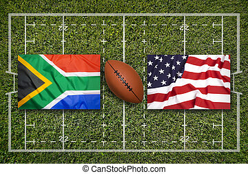 South Africa vs. USA flags on rugby field