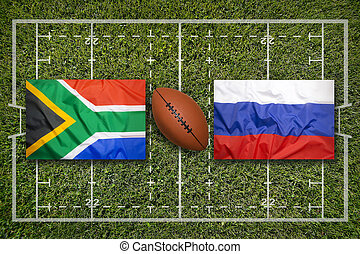 South Africa vs. Russia flags on rugby field