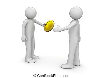 Man giving coin to other