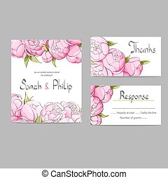 Floral wedding invitation card - Bright floral wedding...
