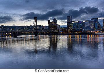 Portland City Skyline with Hawthorne Bridge at Dusk -...
