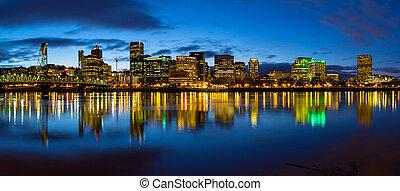 Portland City Skyline Blue Hour Panorama - Portland Oregon...