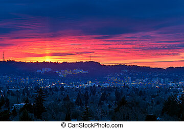 Sunset over Marquam HIll - Sunset over Marquam Hill in...