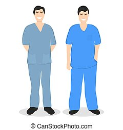 Two doctors men, flat design cartoon vector illustration