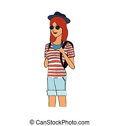 pretty young woman with striped shirt hat and sunglasses...