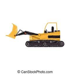 yellow backhoe icon image vector illustration design