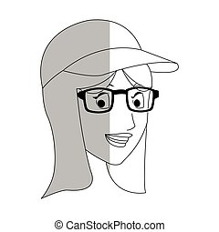 face of pretty young woman with baseball hat and glasses...