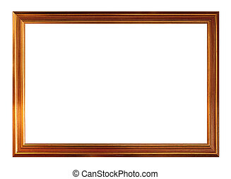 Gold picture frame, isolated on white