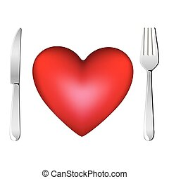 red heart with fork and knife icon