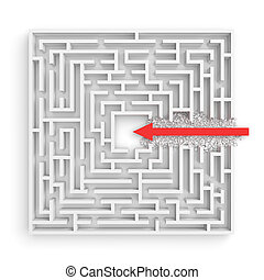3d rendering of a square maze with a red arrow borrowing to the center isolated on white background