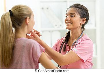 Examinar, adolescente, médico, paciente, doctor, hospital,...