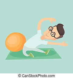 Young man exercising with fitball. - Caucasian man...