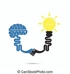 Brain & light bulb symbol.Brainstorm,partnership & teamwork...