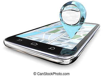 Detailed Search. - Large GPS pointer of abstract Blue Glass...