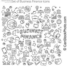 Hand Drawn Business and Finance icons.