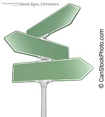 Vector Street Signs. - Vector of 3 way Street Signs pointing...