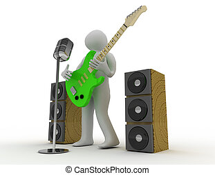3d white people playing  electric guitar with retro microphone