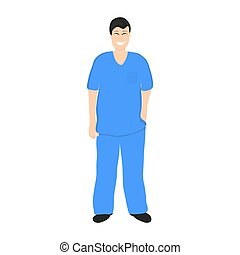 Doctor man in Hospital, flat design cartoon vector...