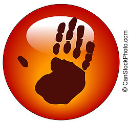 red hand print web button or icon