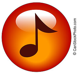 red musical note web button or icon