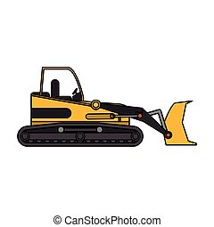 yellow backhoe icon image vector illustration design
