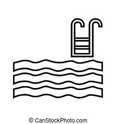 swimming pool - simple thin line swimming pool icon vector
