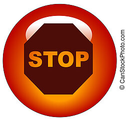 stop sign on red web button or icon